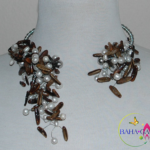 "Natural Poincianna Seeds & Freshwater Pearls ""Crown Jeweled"" Necklace Set."
