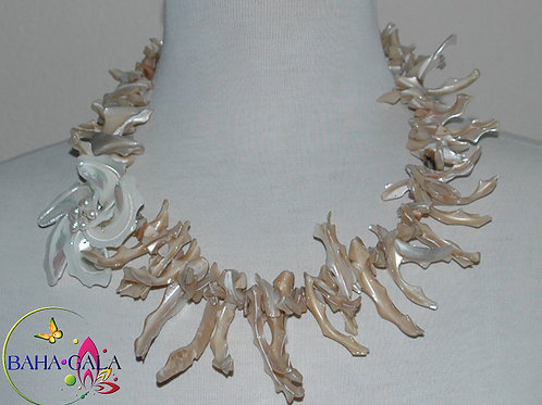 Tan Mother of Pearl Branches Necklace & Earring Set.