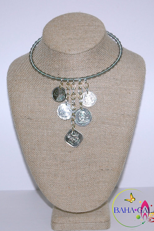 "Authentic Bahamian Coins ""Waterfall"" Necklace & Earring Set."