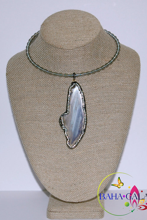 Natural Agate Pendant on Stainless Steel Collar Necklace.