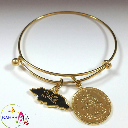 Baha Bangle Coin Charm Bracelet