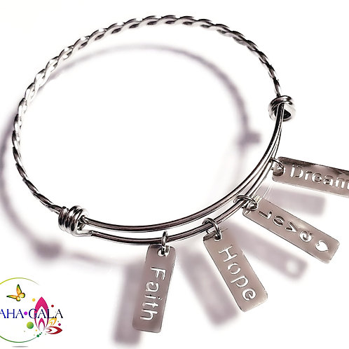 """BG """"Inspire"""" Stainless Steel """"Butterfly Twist"""" Adjustable Charm Bangle."""