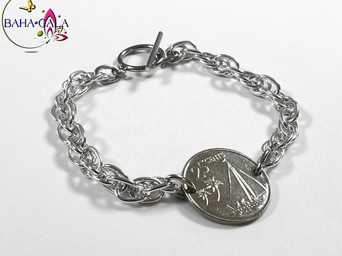 Authentic Bahamian $0.25 Cent Coin Bracelet.