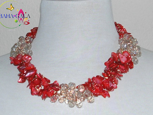 Dyed Red Natural Mother Of Pearl Necklace & Earring Set.