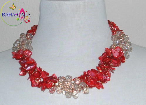 f98fc113a25a7 Dyed Red Natural Mother Of Pearl Necklace & Earring Set.