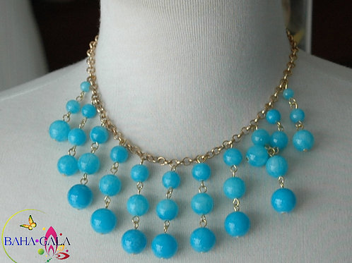Turquoise Glass Pearls Waterfall Necklace & Earring Set.
