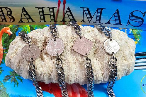 Authentic Bahamian $0.10 Cent Coin Bracelet on Cuban Links.