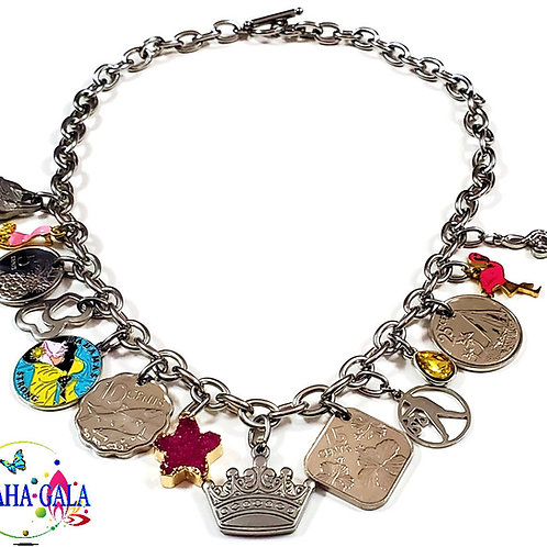 Authentic Bahamian Coins & Charm Stainless Steel Necklace & Earring Set.