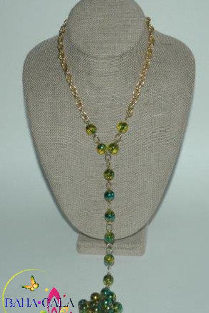 Green Murano Glass Cats Eye Necklace & Earring Set.