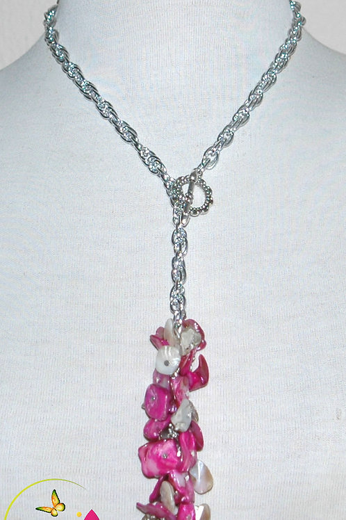 Natural Mother Of Pearl & Dyed Fuschia MOP Pendant Necklace Set