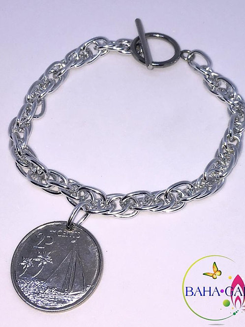 BG Authentic $0.25 Cent  Bahamian Coin Charm Bracelet.