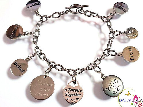 Beautiful Stainless Steel Motivational Charm Bracelet.