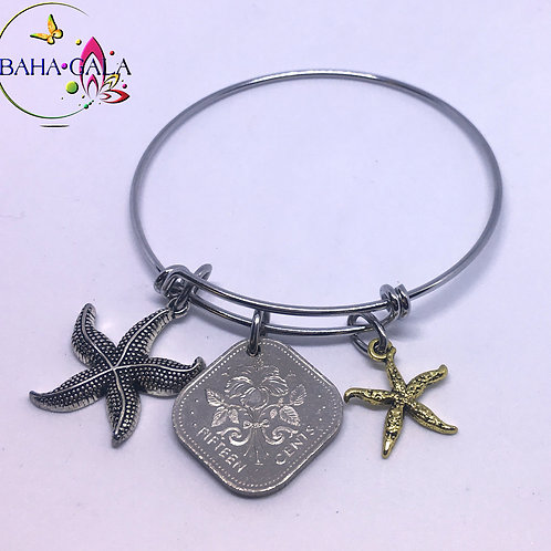 Baha Bangle Coin Charm Bracelet.