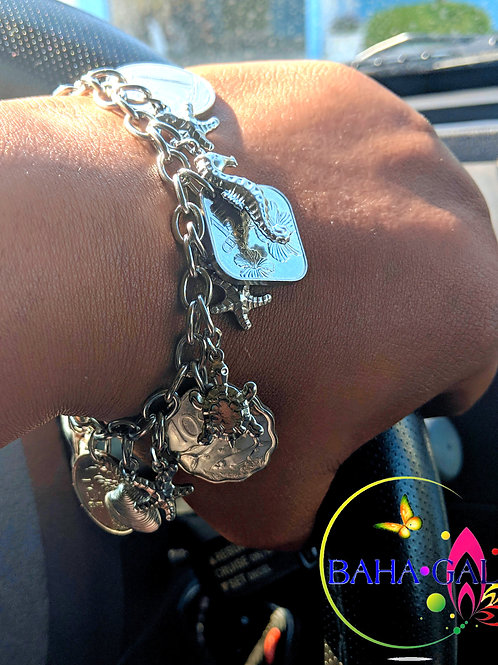 "Authentic Bahamian Coins & Stainless Steel ""Aquatopia"" Charm Bracelet."