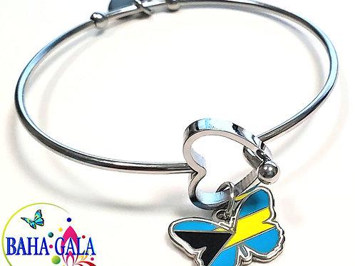 BG Butterfly - Bahamian Flag Stainless Steel Bracelet.