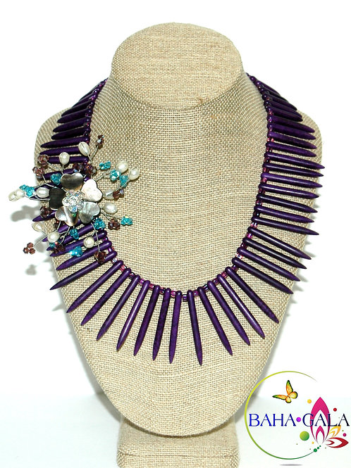 Royal Purple Turquoise & Crystals Necklace Set.