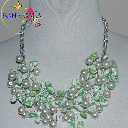 Mint Green & White Swirl Mother Of Pearl Nuggets Necklace & Earring Set.