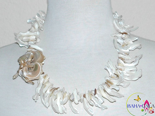 Ivory Mother of Pearl Branches Necklace & Earring Set.