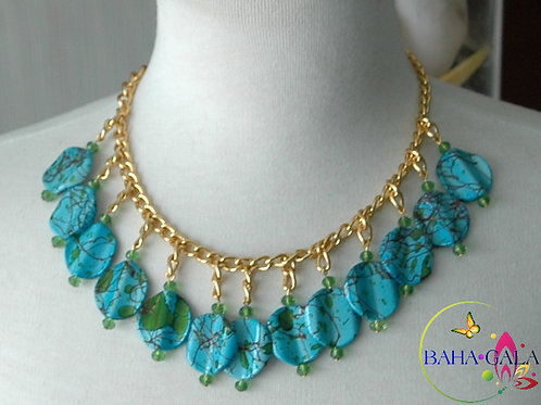 Faux Turquoise With Lime Crystals Necklace & Earring Set.