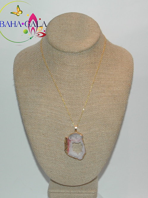 Natural Rose Pink Agate Pendant.
