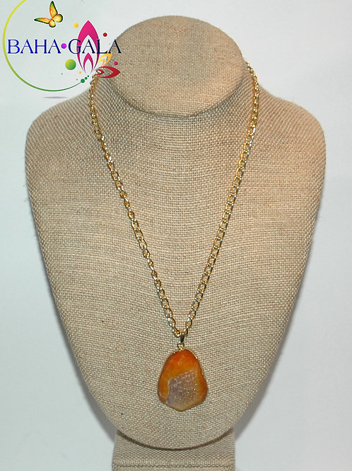 Natural Orange Agate Pendant.
