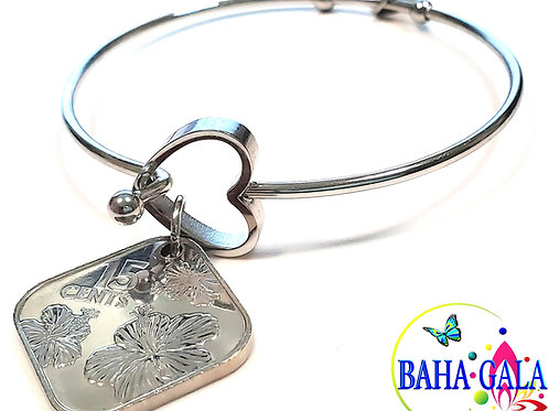 "Authentic Bahamian $0.15 Cent Coin ""Halo Heart"" Adjustable Bangle."