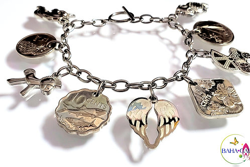 Authentic Bahamian Coins & Charm Stainless Steel Bracelet.