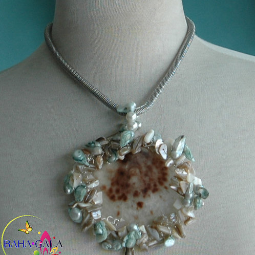 Natural Oyster Shell Adorned with Freshwater Pearls Accented on Stainless Steel