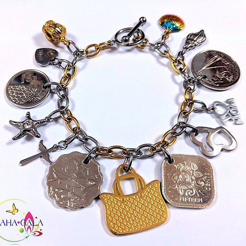 Authentic Bahamian Coins & Charms Countess Coins Bracelet.