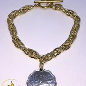 BG Authentic $0.10 Cent Bahamian Coin Charm Bracelet.