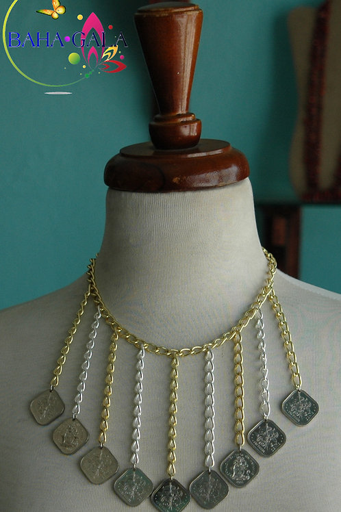 "Authentic 0.15 Cents Bahamian Coins ""Waterfall"" Necklace & Earring Set"