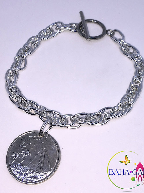 Authentic Bahamian $0.25 Cent Coin Bracelet