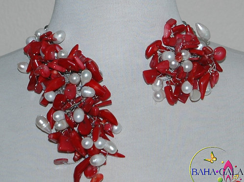 """Red Coral & Freshwater Pearls """"Crown Jeweled"""" Necklace & Earring"""