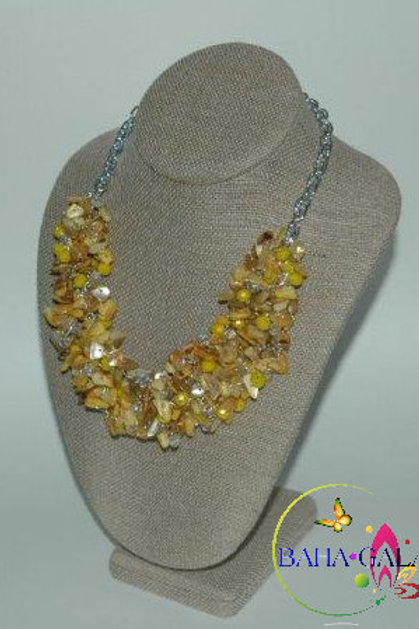 Yellow Mother Of Pearl and Yellow Crystals Necklace & Earring Set.
