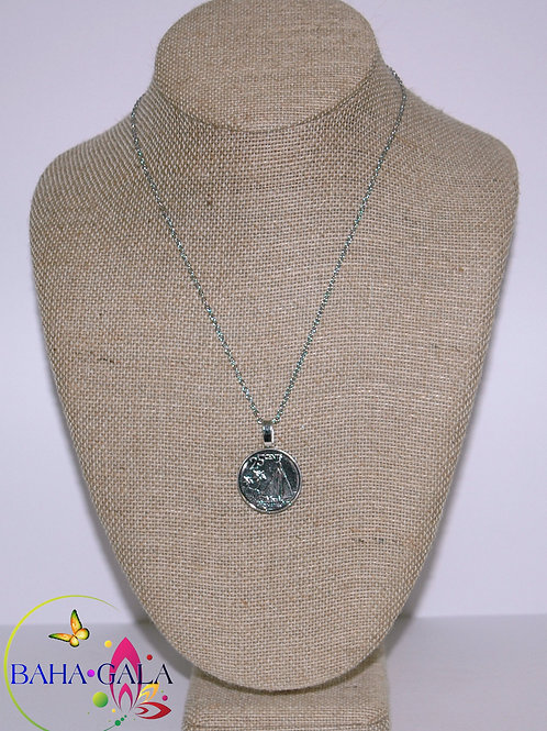 Authentic Bahamian $0.25 Cent Coin Pendant.