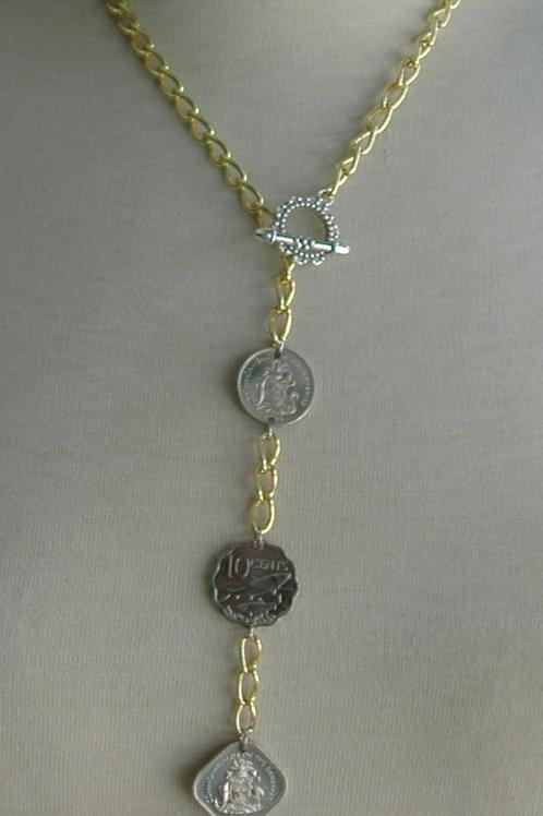 Authentic Bahamian Coins Pendant Necklace & Earring Set.