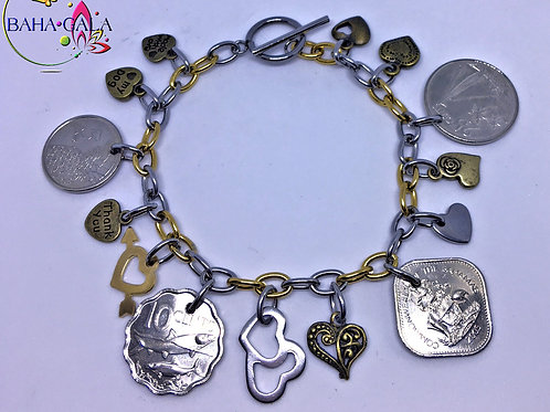 BG Authentic Bahamian Coin Charm Bracelet.