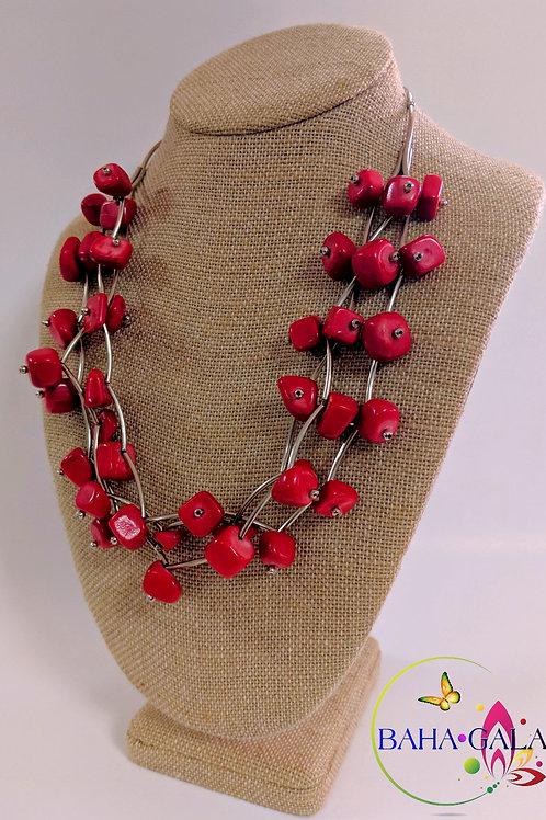 Beautiful 3-Strand Red Jasper Necklace Set