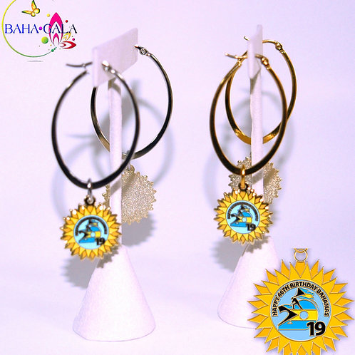 """BG Independence """"Sun Coin"""" Gold & Silver Stainless Steel Oval Hoop Earrings."""