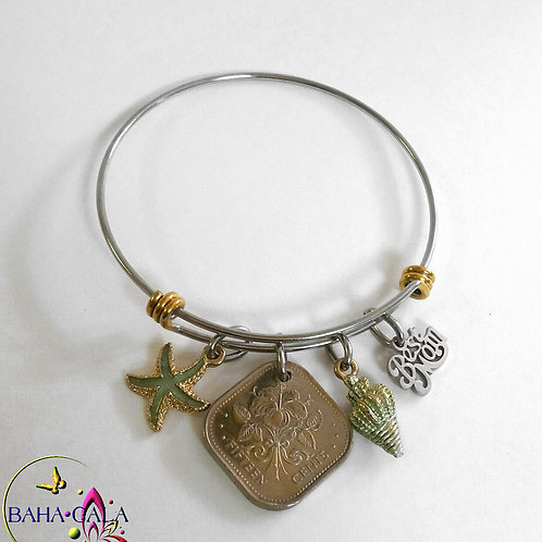 Authentic Bahamian Coin Stainless Steel Silver & Gold Baha Bangle.