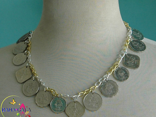Authentic Bahamian Coins Necklace & Earring Set.