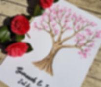 Hand drawn watercolour fingerprint tree wedding guest book