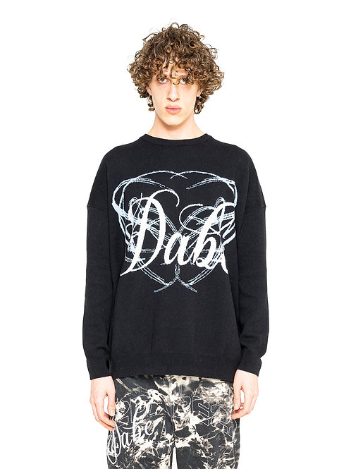 KNIT SWEATER LOGO ON CHEST BLACK