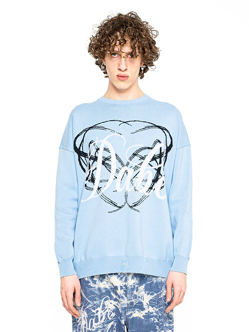 KNIT SWEATER LOGO ON CHEST BABY BLUE
