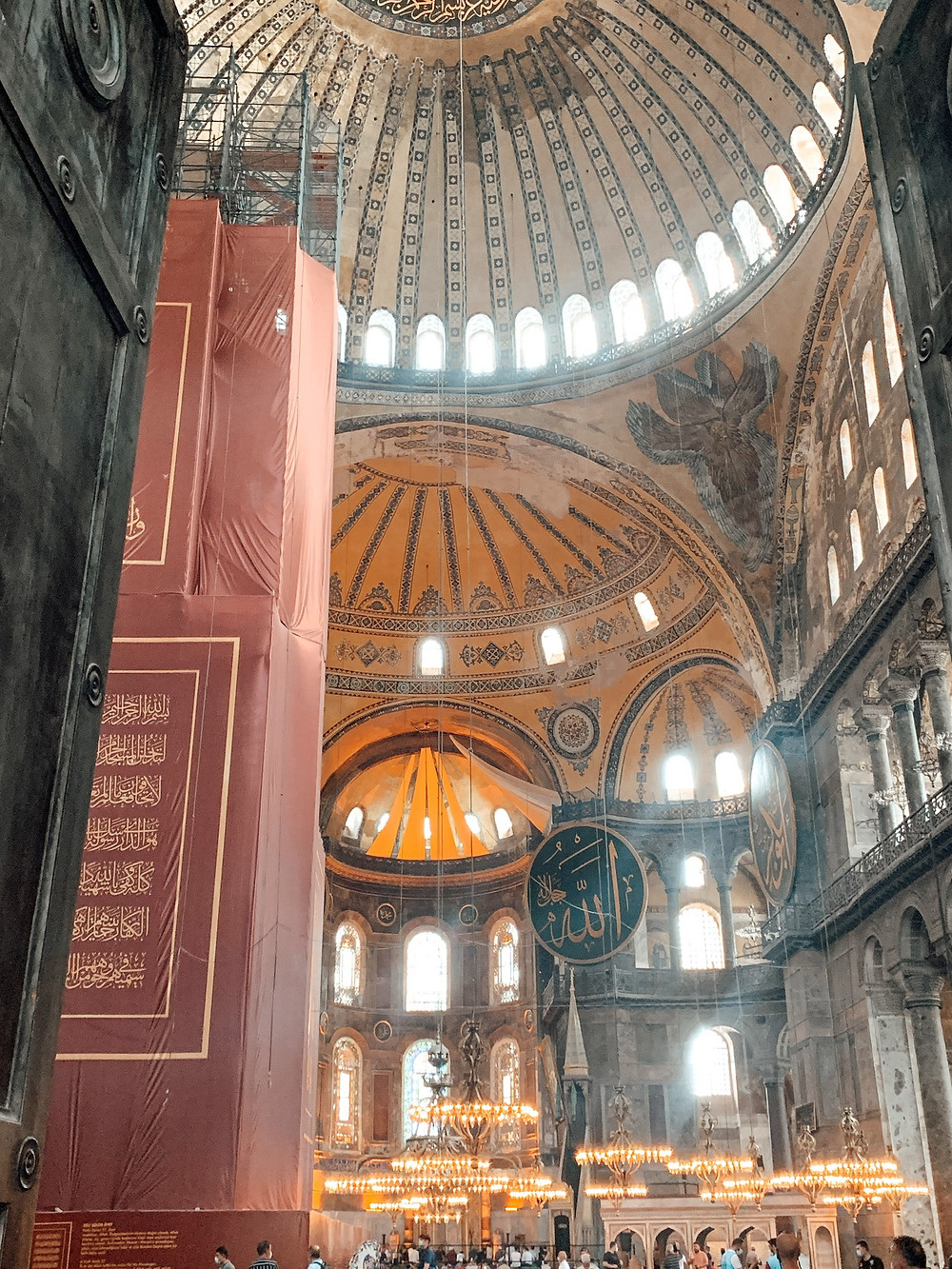 Inside the Hagia Sophia - now an active mosque