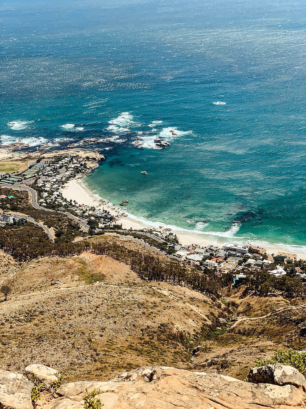 Looking down from Lion's Head into Clifton Beach - long, but beautiful, walk along the coastline