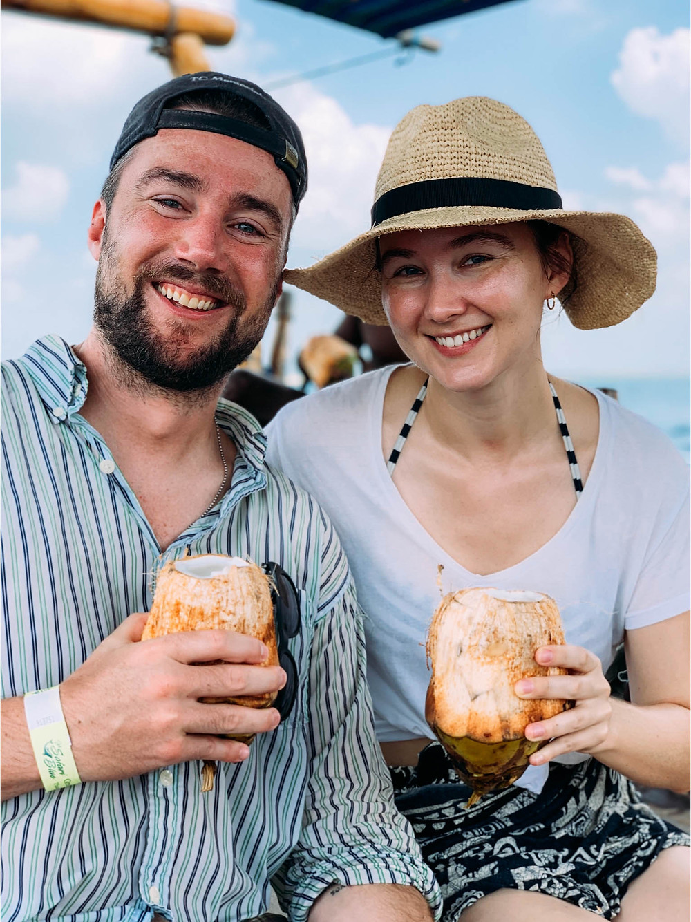 Enjoying some fresh coconut juice while snorkeling in Zanzibar