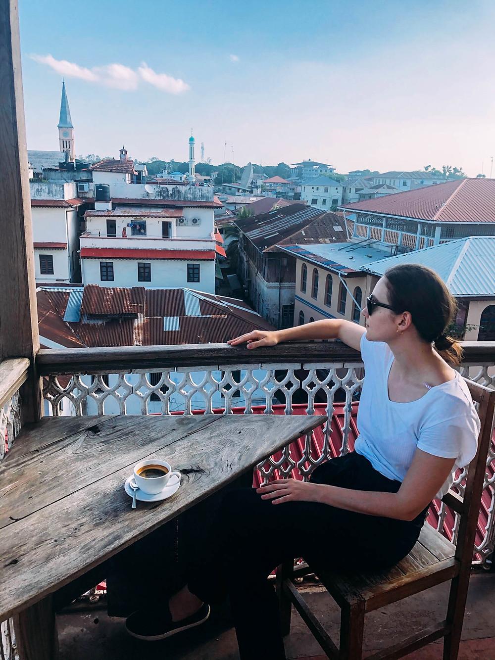 Coffee overlooking Stone Town's winding alleys