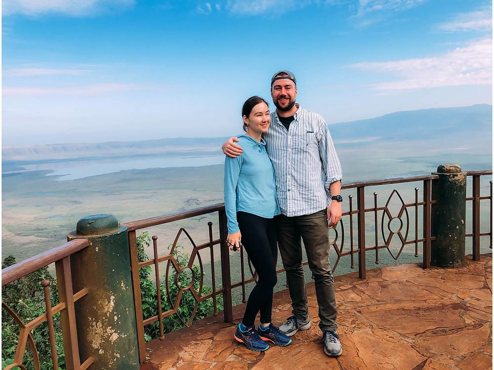 Standing on the rim of Ngorongoro Crater