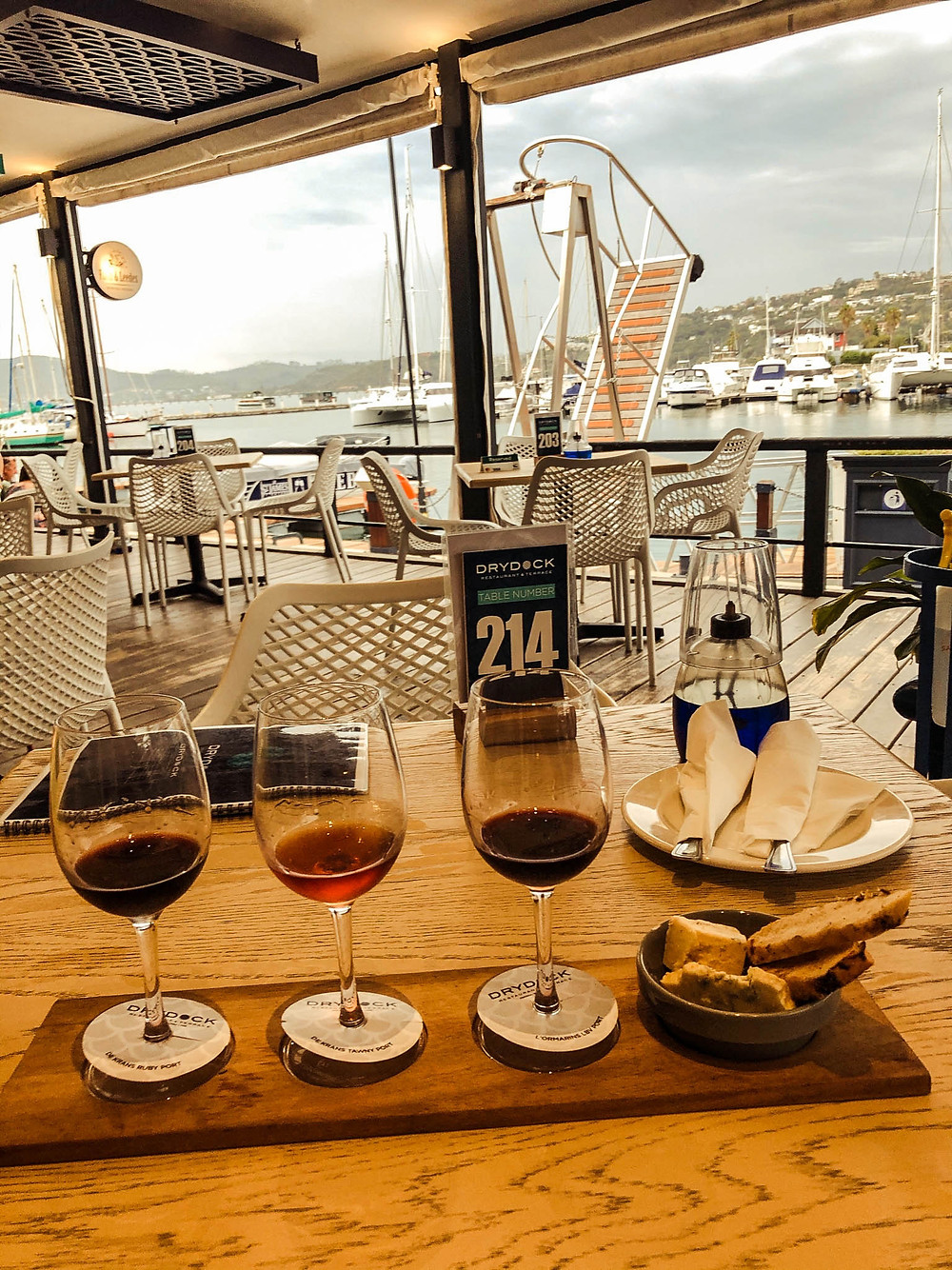 Not quite communion wine, but Knysna's Drydock Restaurant does a great port tasting!